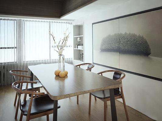北欧餐桌椅摆件装饰画组合3D模型【ID:87108953】