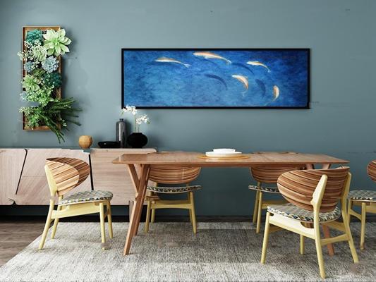 现代餐桌椅3D模型【ID:819740582】
