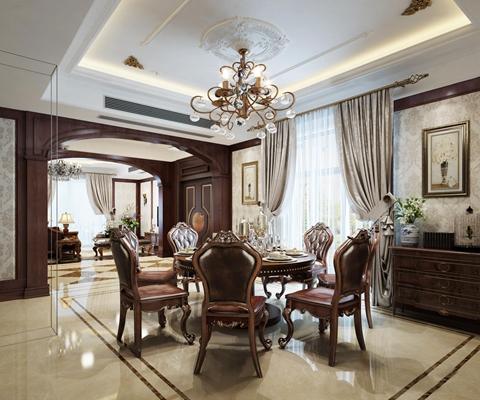 美式餐厅圆形餐桌椅吊灯组合3D模型【ID:87109454】