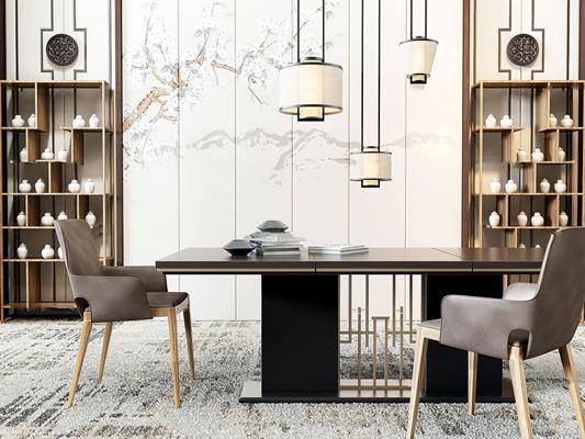 新中式餐厅餐桌椅装饰柜组合3D模型【ID:87109554】