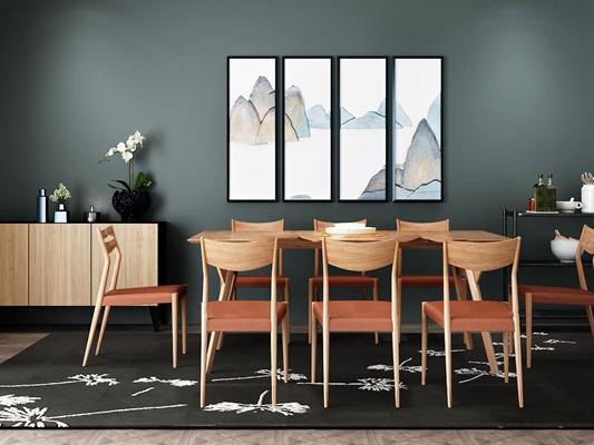 新中式餐桌椅组合3D模型【ID:819742518】