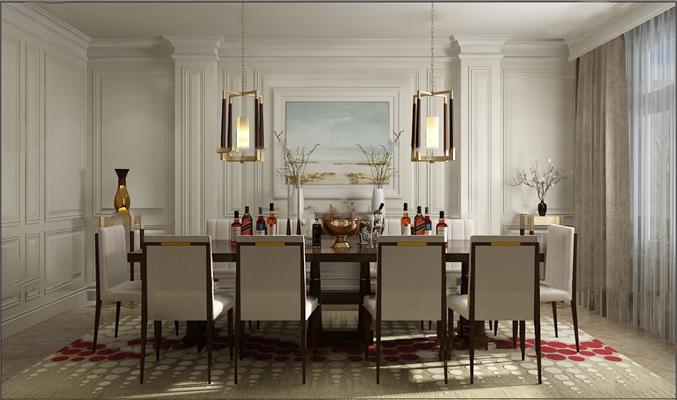 欧式餐厅空间3D模型【ID:819741571】