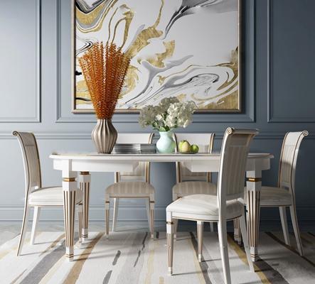 法式圆形白色餐桌椅装饰画摆件组合3D模型【ID:87109651】