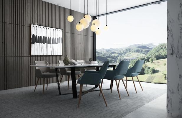 北欧餐桌椅吊灯组合3D模型【ID:87110159】