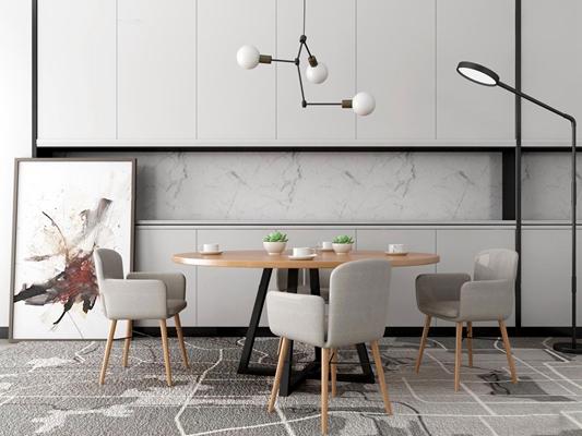 北欧圆形餐桌椅橱柜组合3D模型【ID:87110554】