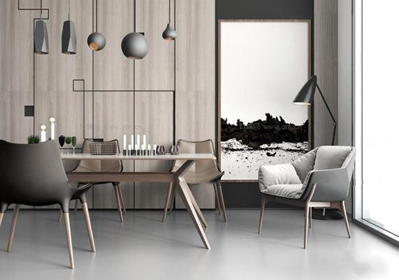 现代餐厅餐桌椅吊灯组合3D模型【ID:87110657】