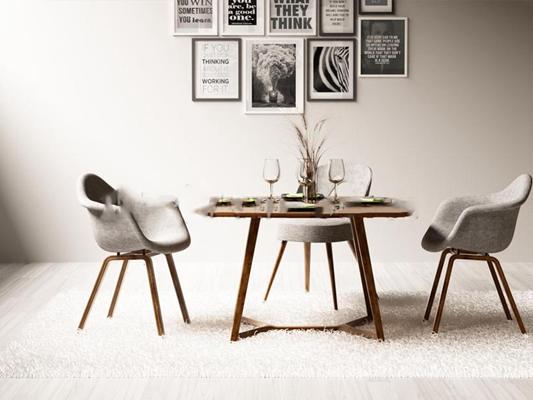 现代餐桌椅子挂画组合3D模型【ID:87111151】