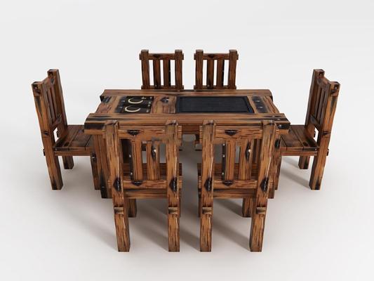 现代船木茶台桌椅组合3D模型下载【ID:87111756】