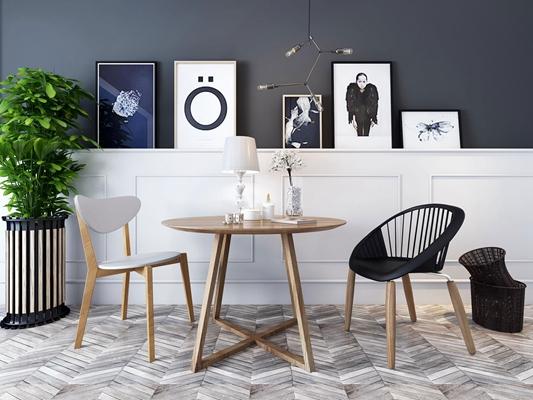 现代休闲桌椅装饰画盆栽组合3D模型下载【ID:87112351】