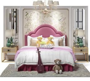 新中式床头背景墙儿童床3D模型【ID:727808151】