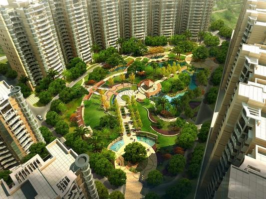现代住宅小区园林景观3D模型