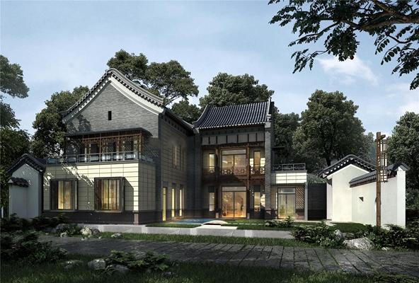 中式古建筑别墅外观3D模型【ID:87156445】