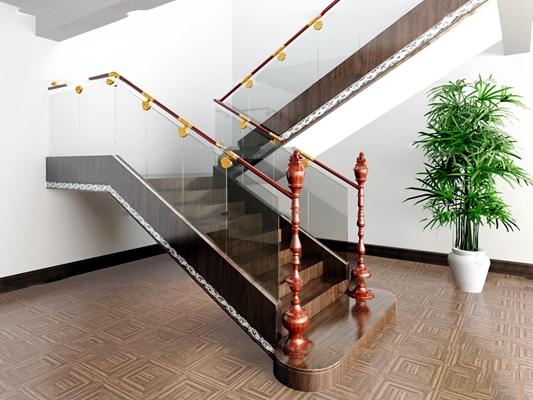新中式楼梯3D模型【ID:87165554】