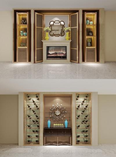 欧式壁炉酒柜装饰架组合3D模型【ID:87166119】