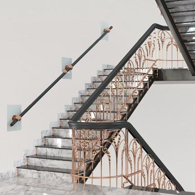 欧式金属楼梯扶手护栏3D模型【ID:87167459】