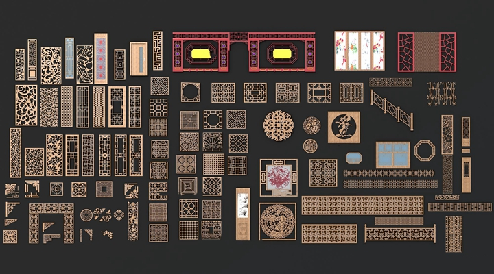 新中式雕花窗花構件組合3D模型【ID:87173961】