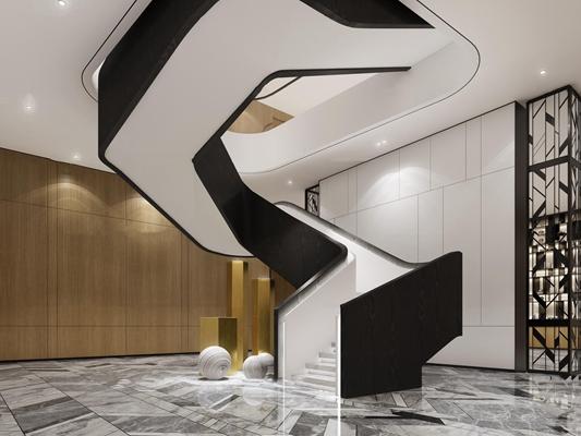 现代旋转楼梯3d模型【ID:87184558】