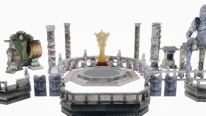 中式游戏雕花柱子栏杆组合3D模型【ID:87190550】