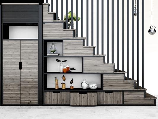 现代楼梯储藏柜3D模型【ID:87206056】