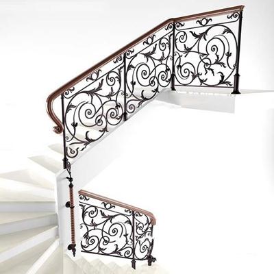 欧式铁艺花格楼梯护栏3D模型【ID:87206456】