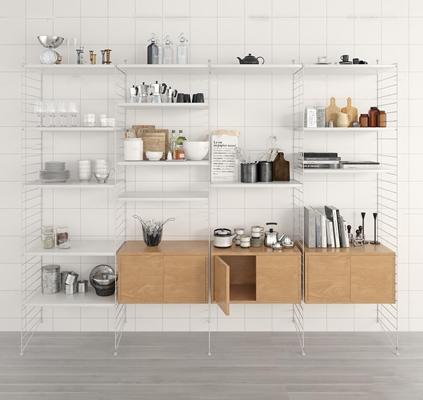 现代橱柜餐具组合3D模型【ID:87219338】