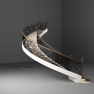 欧式铁艺旋转楼梯3D模型【ID:87220953】