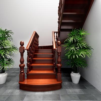 欧式实木楼梯3D模型【ID:87226053】