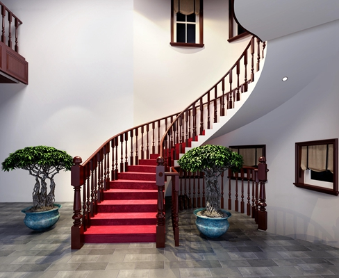 中式楼梯3D模型【ID:87226455】