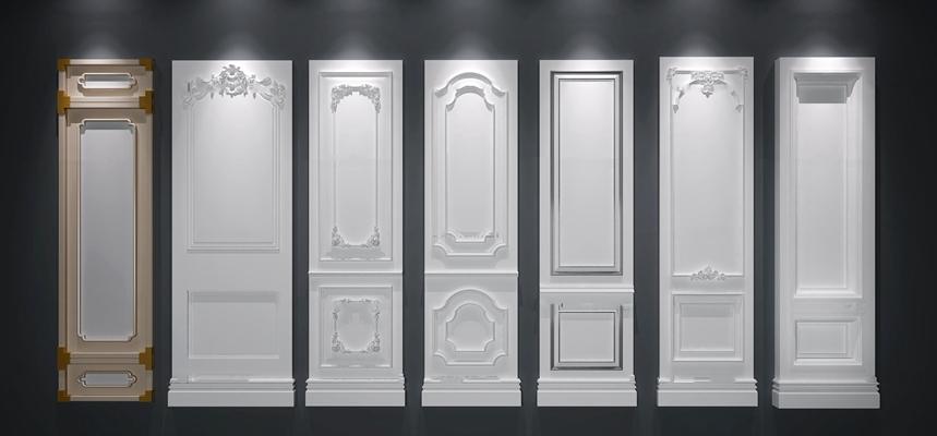 欧式雕花护墙板3D模型【ID:87234067】
