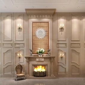 欧式壁炉休闲椅背景墙3D模型【ID:87236515】