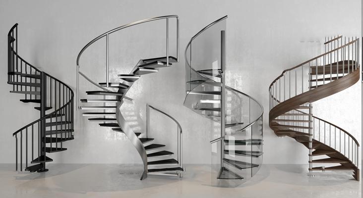 现代旋转楼梯组合3D模型【ID:87241755】