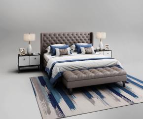 现代皮革双人床床头柜台灯脚榻组合3D模型【ID:727807092】