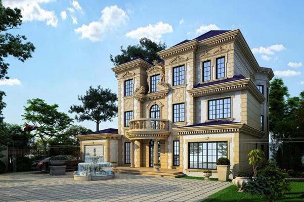 法式風格別墅建筑外觀3D模型【ID:327895505】