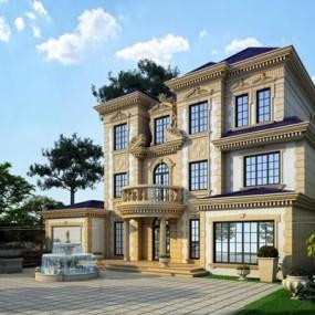 法式风格别墅建筑外观3D模型【ID:327895505】