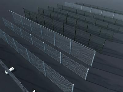 现代铁丝网栏杆组合3D模型【ID:831406596】