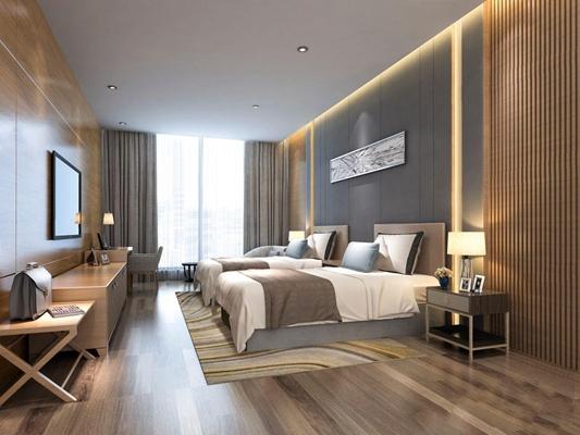 現代簡約酒店客房雙人間3D模型【ID:428260687】