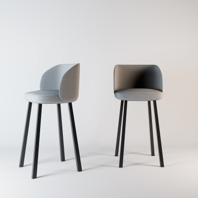 现代布艺吧椅3D模型【ID:328441123】