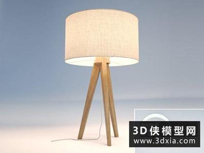 現代木質臺燈國外3D模型【ID:829738926】