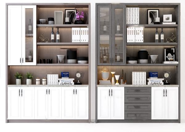 現代酒柜裝飾柜3D模型【ID:646658224】