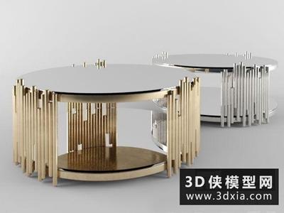 現代金屬圓茶幾國外3D模型【ID:829417135】