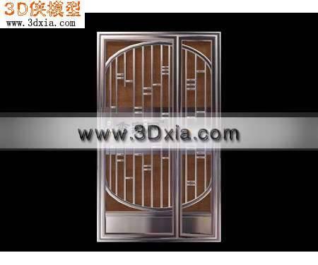 不锈钢防盗门3D模型【ID:8777】