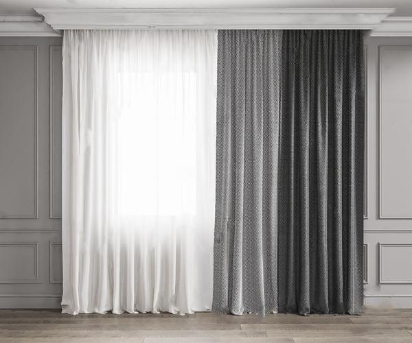現代窗簾3D模型【ID:246258638】