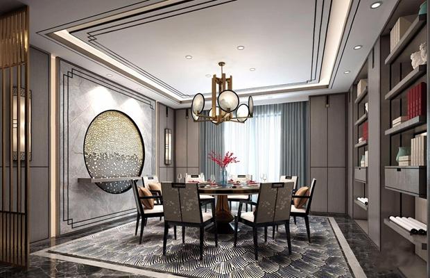 新中式餐廳3D模型【ID:828324553】