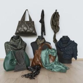 现代包包围巾组合3D模型【ID:527797110】