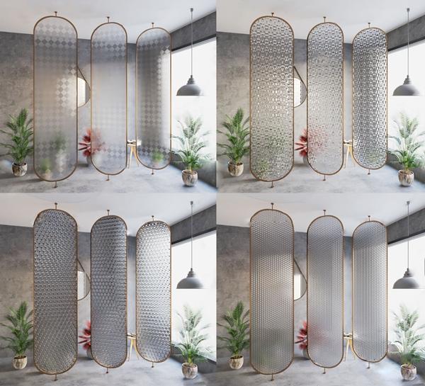 后現代工藝玻璃屏風隔斷3D模型【ID:349328742】