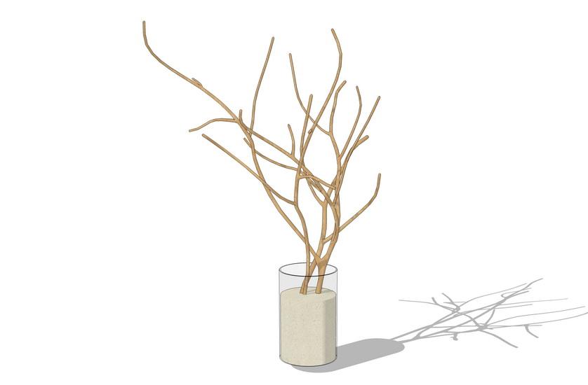 花瓶干樹枝擺件SU模型【ID:936468696】