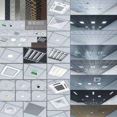 現代鋁扣板天花板3D模型【ID:728468760】