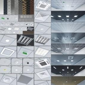 现代铝扣板天花板3D模型【ID:728468760】