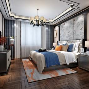 新中式卧室3D模型【ID:128413369】