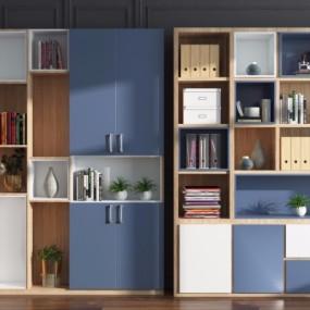 现代实木书柜3D模型【ID:928561586】